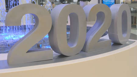 St. Petersburg, Russia - January 12, 2020: 2020: Big blue numbers in the mall. 2020 Happy New Year text During Christmas and New Year.