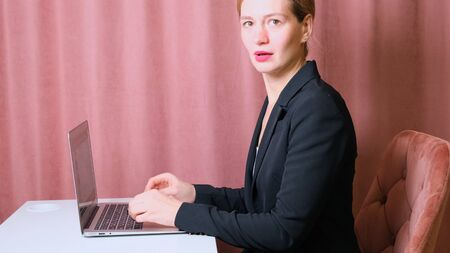 woman working laptop. Business woman busy working on laptop computer at office. female surprised and frustrated.