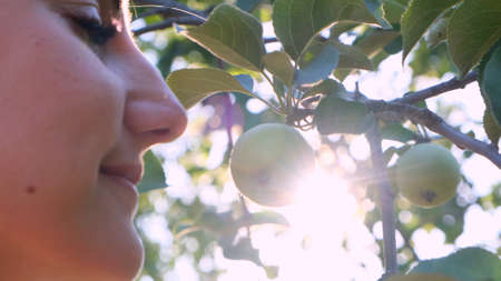 fresh natural apple on a tree branch and a feminine enjoyment face in the sunlight. selective focus. Imagens