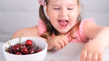 Beautiful cute little girl sitting at a light wooden table with a plate of cherries and eating a berry. Healthy eating Imagens