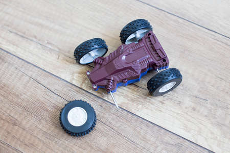 damage car racing. broken toy racing car