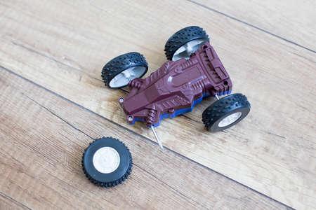 damage car racing. broken toy racing car