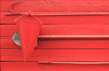 fire extinguishing: fire shield. fire shield with with fire extinguishing tool: a bucket, spade and hook Stock Photo