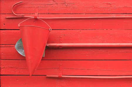 fire shield: fire shield. fire shield with with fire extinguishing tool: a bucket, spade and hook Stock Photo
