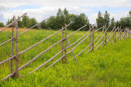 pasture fence: pasture fence. fence from wooden sticks protects the pasture