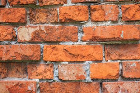 벽돌 벽. 오래 된 벽돌 벽의 질감의 배경 스톡 콘텐츠