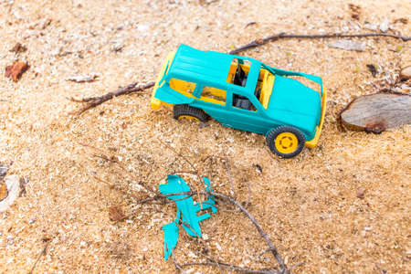 road accident: traffic accident. childrens toy car involved in a road accident