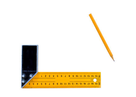 neatness: ruler tool. ruler measurement tool and pencil isolated on white background Stock Photo
