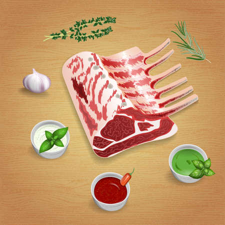 Crude organic lamb chops with herbs and sauces on the board. For use as logos on cards, in printing, posters, invitations, web design and other purposes.