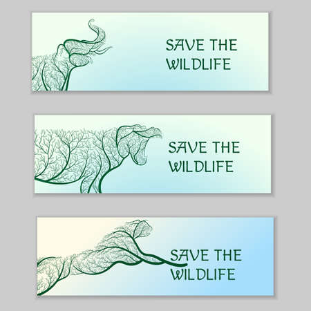 Save the wildlife. Ecological banners. For use as logos on cards, in printing, posters, invitations, web design and other purposes. Illustration