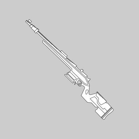 Automatic firearms, pistol, rifle, machine gun, in a linear style  for use as logos on cards, in printing, posters, invitations, web design and other purposes.
