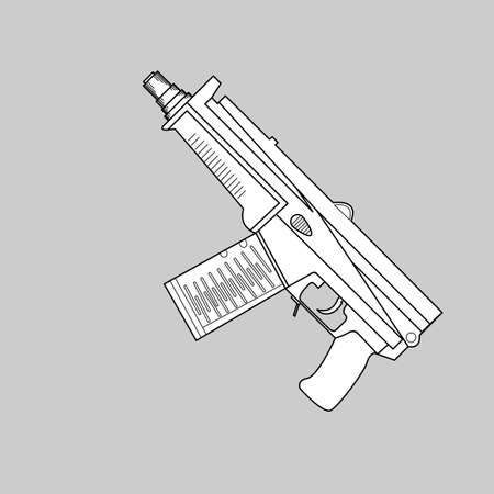 chuck: Automatic firearms, pistol, rifle, machine gun, in a linear style  for use as logos on cards, in printing, posters, invitations, web design and other purposes.