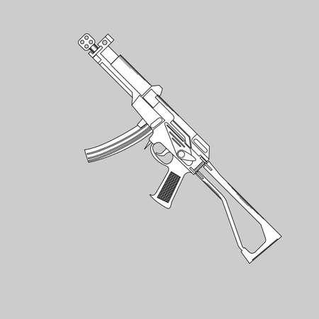 sniper: Automatic firearms, pistol, rifle, machine gun, in a linear style  for use as logos on cards, in printing, posters, invitations, web design and other purposes.