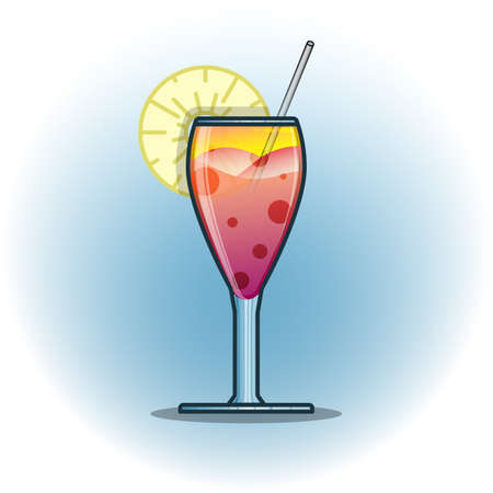 Vector illustration cocktails drinks in glasses vector flat icons. Set of alcohol and soft drinks and refreshments for cocktail party or bar menu design element Illustration