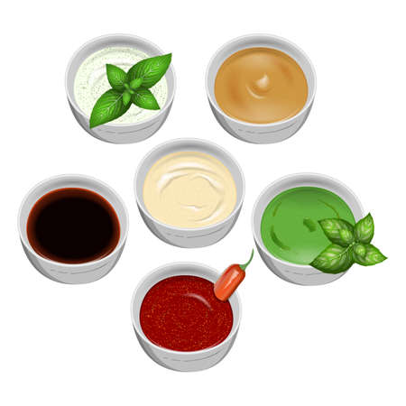 thai herb: Set of tasty fresh sauce fish and meat on a white background. For use as logos on cards, in printing, posters, invitations, web design and other purposes. Illustration
