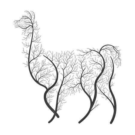 Lama Alpaca, guanaco stylized bushes on a white background for use as logos on cards, in printing, posters, invitations, web design and other purposes. Illustration