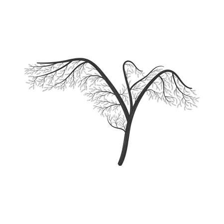 날개를 가진 크레인 양식에 일치시키는 부시 확산. 카드의 로고, 인쇄, 포스터, 초대장, 웹 디자인 및 기타 용도로 사용하십시오. 일러스트