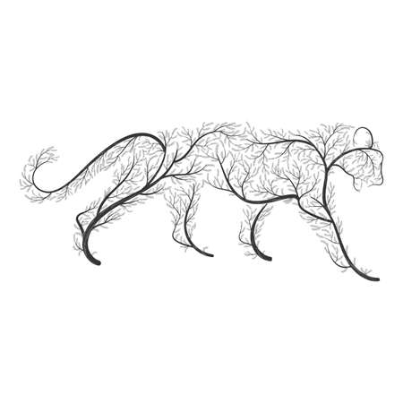 the lynx: Big wild cat stylized by bushes  for use as logos on cards, in printing, posters, invitations, web design and other purposes.