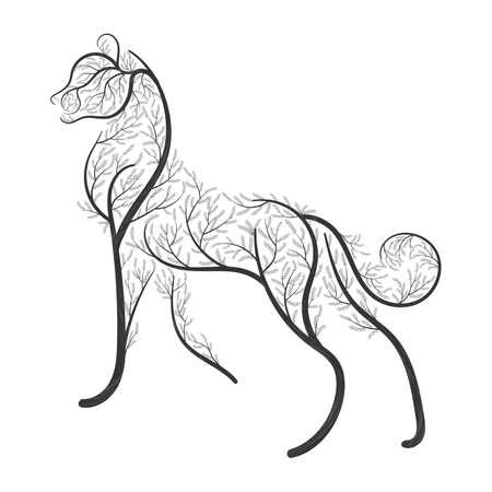 Grote wilde kat gestileerd door struiken voor gebruik als logo's op kaarten, in drukwerk, posters, uitnodigingen, webdesign en andere doeleinden. Stock Illustratie
