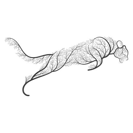 Big wild cat stylized by bushes  for use as logos on cards, in printing, posters, invitations, web design and other purposes.