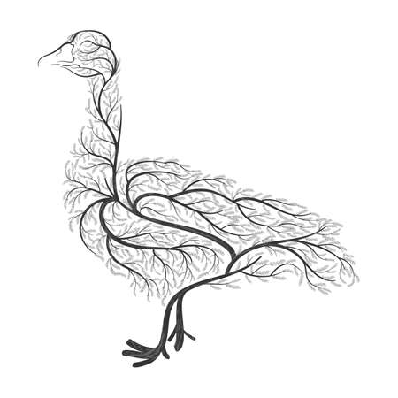 animal silhouette: Farm animals. Stylized bushes domestic goose. For use as logos on cards, in printing, posters, invitations, web design and other Farm animals. purposes. Illustration