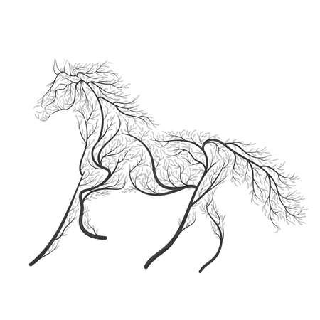 Concept horse jumping stylized bush. Vectores