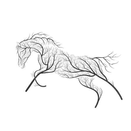 Konzept Pferd springen stilisierten Busch. Standard-Bild - 77768767