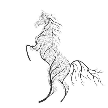 Concept horse jumping stylized bush.  イラスト・ベクター素材