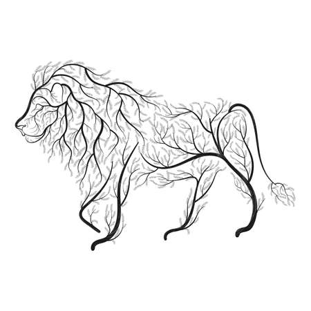 Lion bush stylization for use  on cards, in printing, posters, invitations, web design and other purposes.