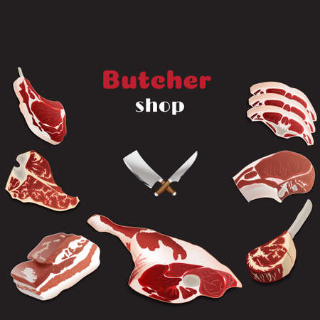 Design template for meat market.Butcher shop background. Advertising poster for a fresh meat shop In a realistic style. Stock Illustratie