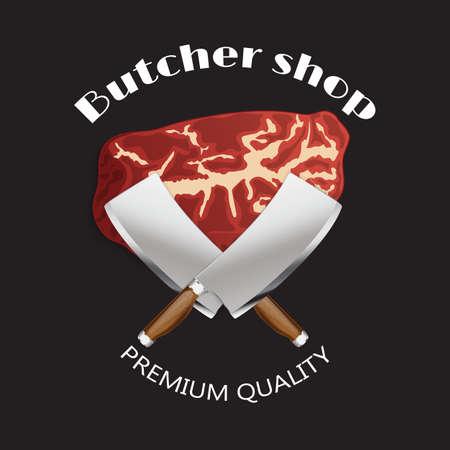 Meat butcher shop background, poster. Template. Illustration