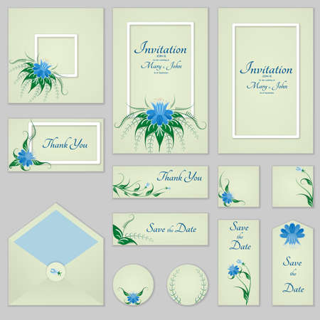 Collection Greeting cards with stylized bells and frames, can be used as invitation card for wedding, birthday and other holiday and summer background. Illustration