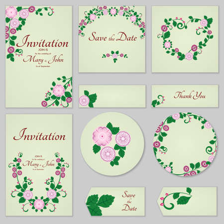 Collection Greeting cards with stylized gentle wild rose, can be used as invitation card for wedding, birthday and other holiday and summer background.