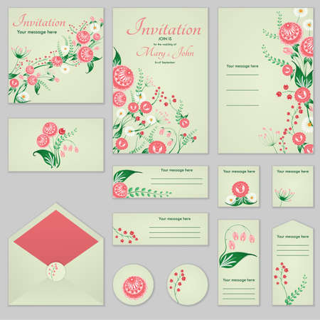Collection Greeting cards with stylized roses and wild flowers, can be used as invitation card for wedding, birthday and other holiday and summer background.