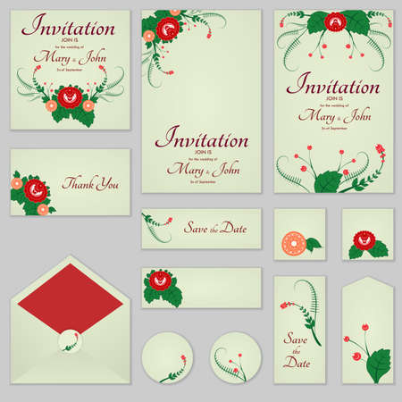 Collection Greeting cards with stylized red roses, can be used as invitation card for wedding, birthday and other holiday and summer background.