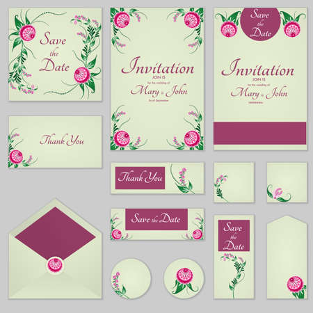 Collection Greeting cards with stylized burgundy roses, can be used as invitation card for wedding, birthday and other holiday and summer background.