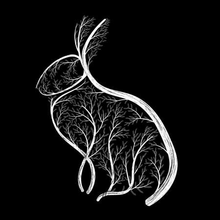 Stylized drawing of a sitting hare; Bushes, branches and leaves for used for wallpaper; printing on the packaging paper; textiles. Illustration