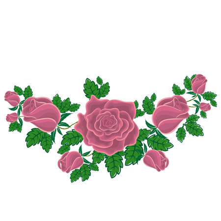 Ash-pink roses in cartoon style for used for wallpaper; printing on the packaging paper; textiles. Illustration