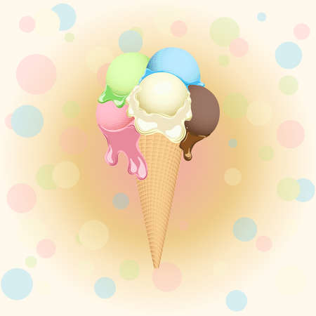 Multicolor poster - waffle ice cream cone on festive background for used for wallpaper, printing on the packaging paper, textiles. Illustration