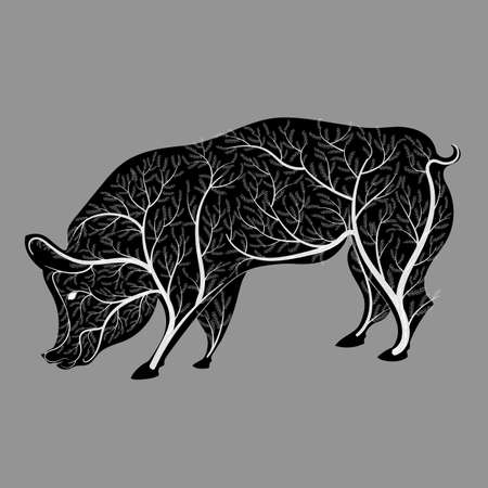Silhouette of a pig with a bush texture for wallpaper, printing on the packaging paper, textiles.