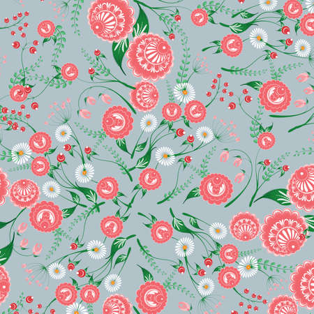 Slavic seamless pattern from fairy flowers for used for wallpaper, printing on the packaging paper, textiles.