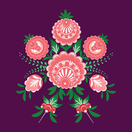 Slavic folk traditional vegetable pattern. Circular ornament of roses and berries for used for wallpaper, printing on the packaging paper, textiles.