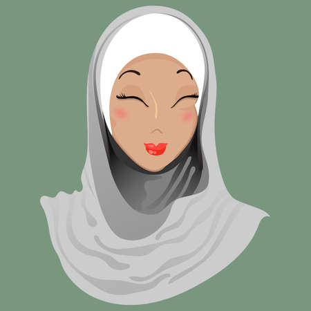 Emoticon. Muslim girl. Delight. For used for web, wallpaper, printing on the packaging paper, textiles. Illustration