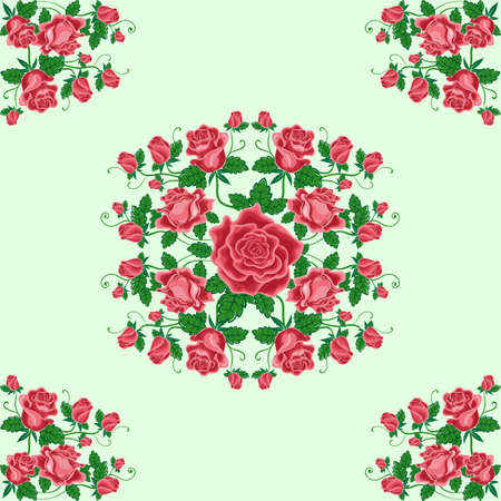 Seamless Pattern Of Bouquets Red Roses For Used Wallpaper Printing On The