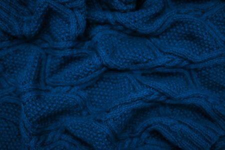 Blue color of year 2020. Fashion color winter 2020 knitted sweater. warm cozy home and fashion colors concept. Texture