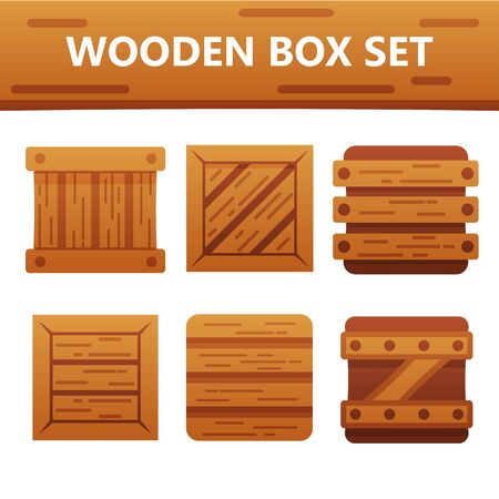 Colorful wooden box set. Bright and stylish elements for your design and web app.