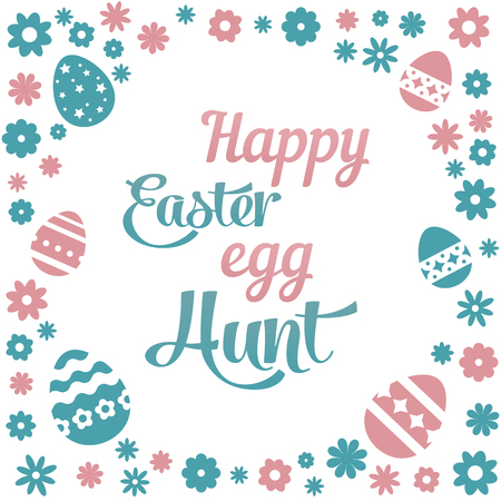 Colorful illustration with the title Happy Easter Egg Hunt and flowers on white background Illustration