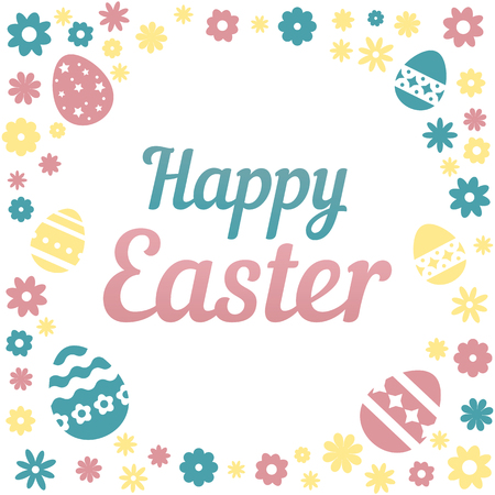Colorful illustration with the title Happy Easter and flowers on white background Illustration
