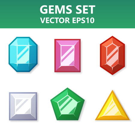 ruby: Modern vector set of colorful gems for website or mobile application. Bright and stylish elements for you design.