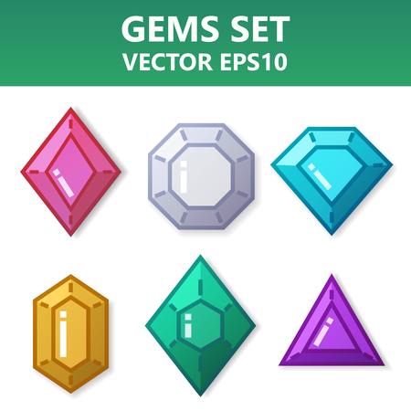 Modern vector set of colorful gems for website or mobile application. Bright and stylish elements for you design.